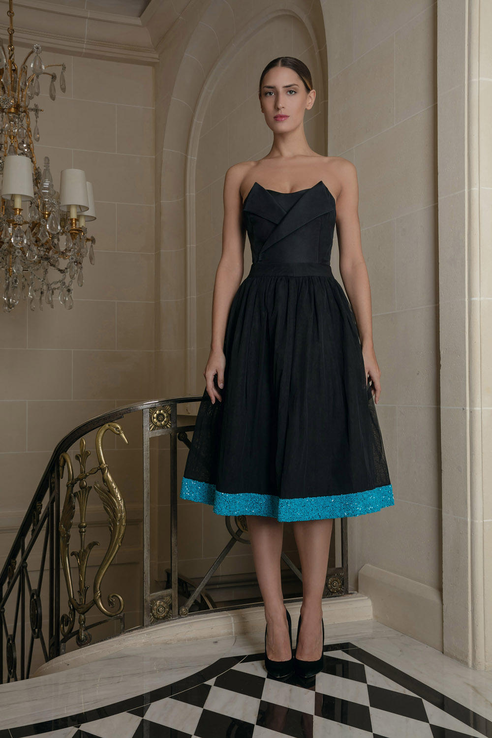 high fashion choose best official Black midi skirt with turquoise embellishments