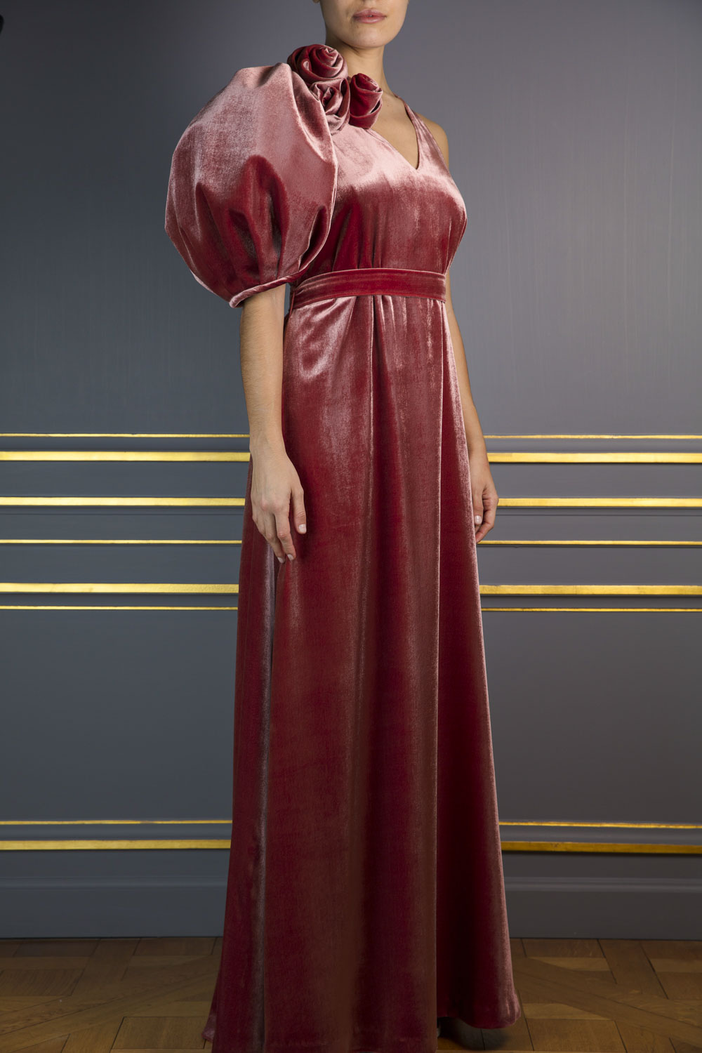 Full-length velvet gown