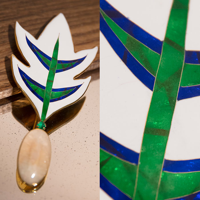 Green, blue and white enamel brooch or pendant