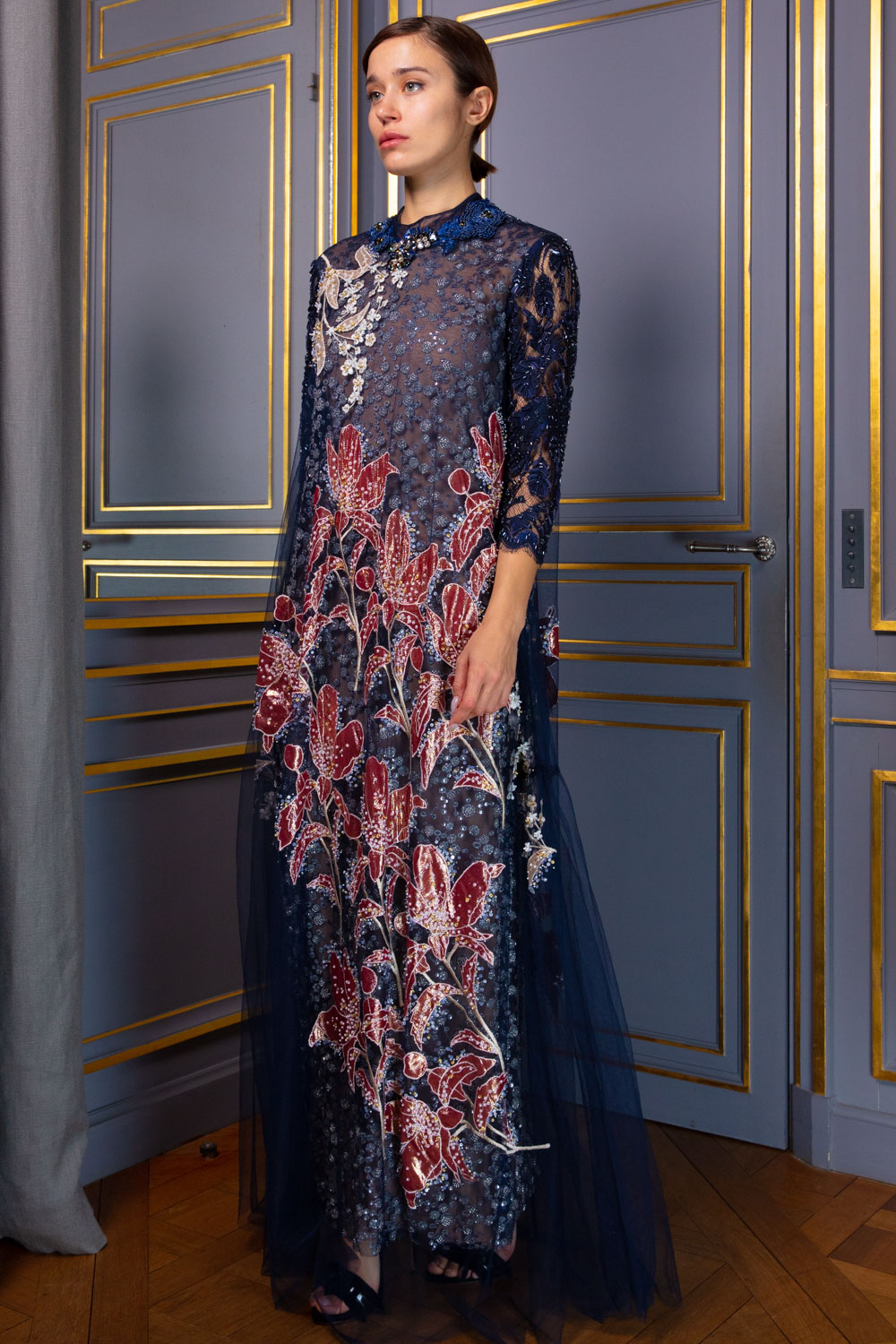Hand-embroidered tulle gown in midnight blue
