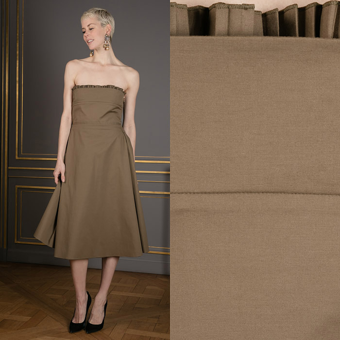 Strapless khaki colored midi dress