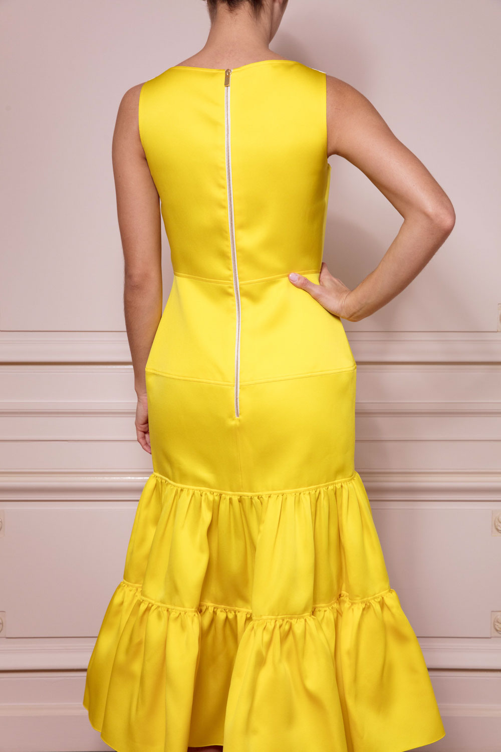 Tiered and ruched midi dress in canary yellow satin