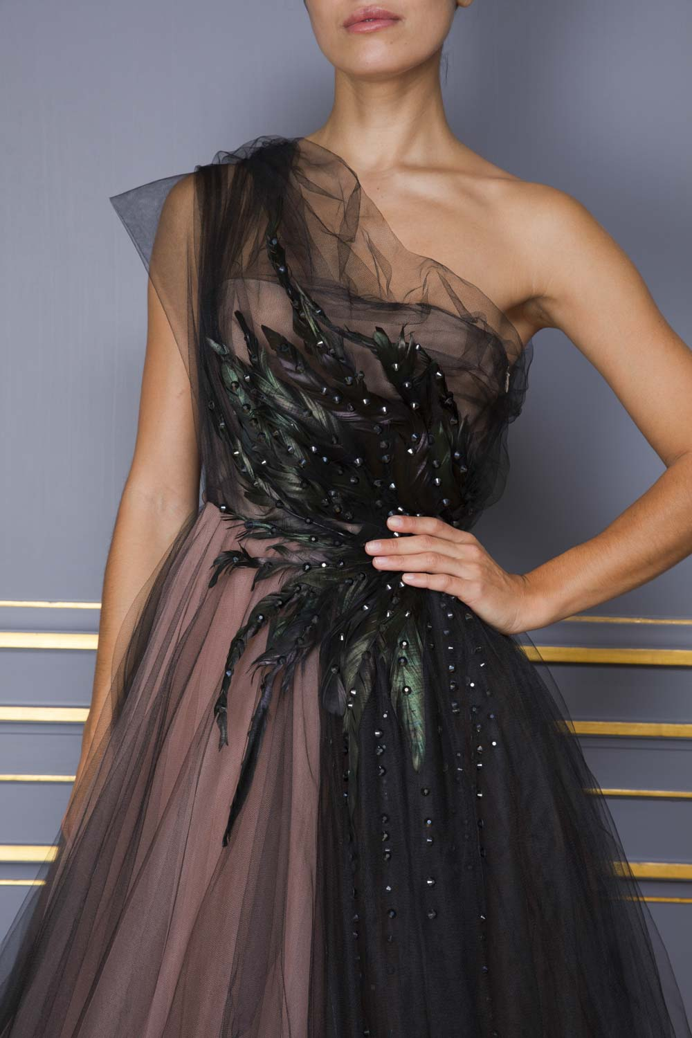 Black tulle evening gown with beading and feather embroidery