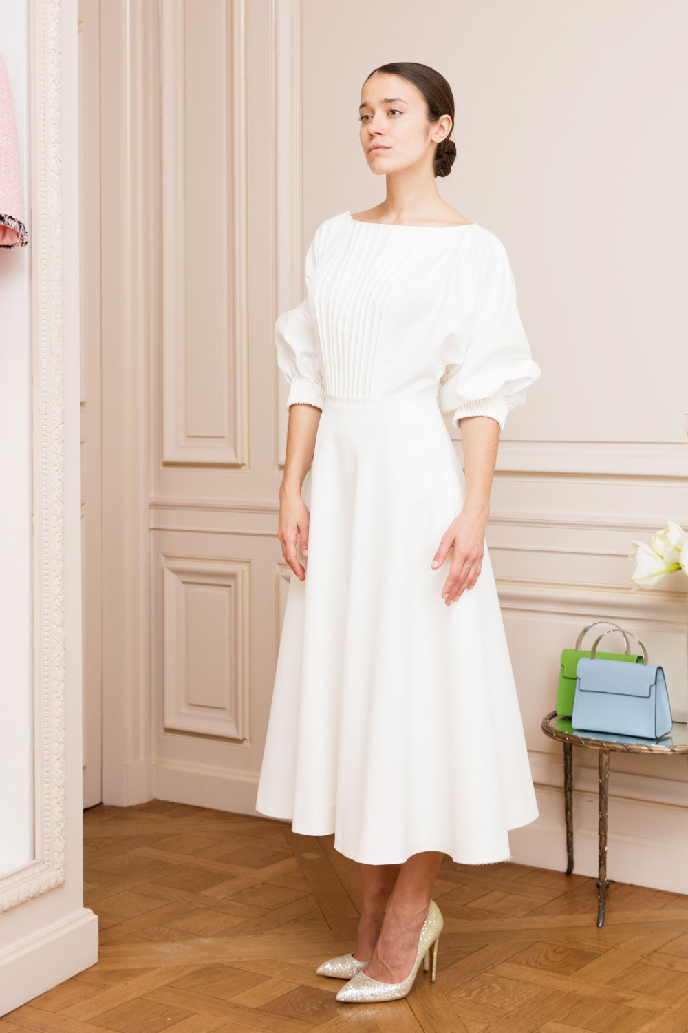 Ivory midi cotton dress