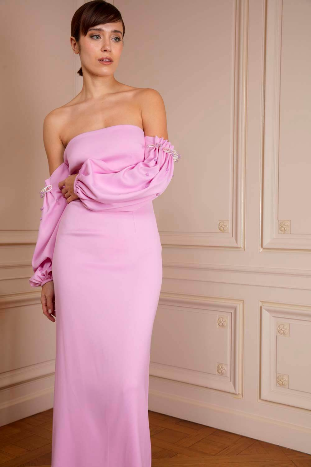 Pink off-the-shoulder gown with embellished drop sleeves