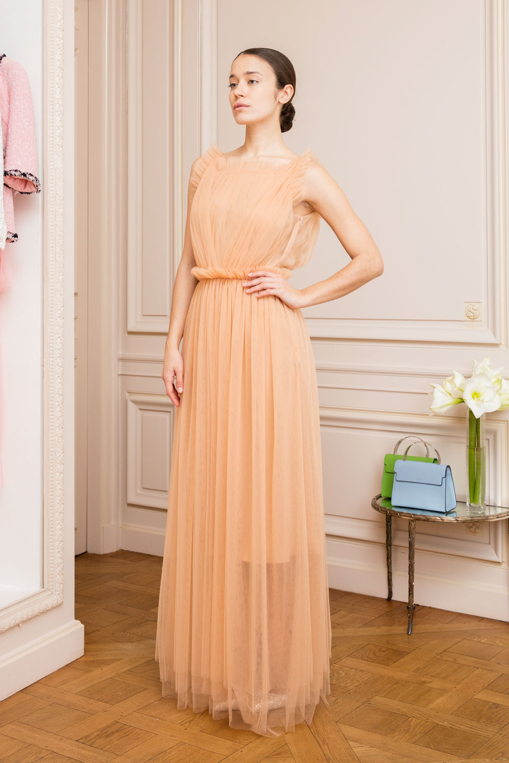peach tulle gown
