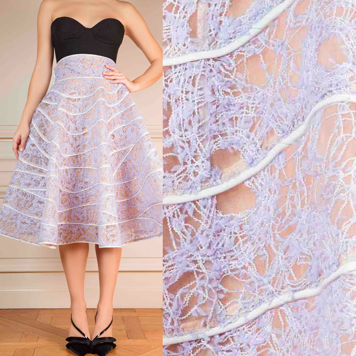 Macramé lace wave-cut skirt with leather details